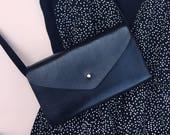 Elegant handmade leather crossbody bag - LIA - Can be personalised - Black