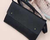 Handmade leather clutch bag - KAINE Black - Can be personalised