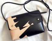 "Handmade mini cross-body bag OANA ""Ink Brushed"" - Natural & Black - Can be personalised"