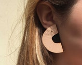 ORI - handmade statement earrings with gold plated posts - Black and Nude leather