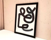 "Abstract wall art - painting - acrylic on art paper ""Continuous Line"""