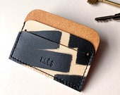 """Minimalist leather card holder - MIKA """"Ink Brushed"""" - Can be personalised"""