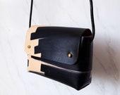 "Handmade mini bag ORIANA ""Ink Brushed"" - Natural & Black - Can be personalised"