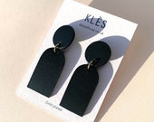 Hand-painted leather drop earrings ORANE - Matte Black