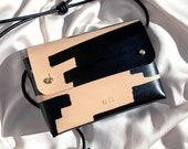 "Handmade mini cross-body bag ORIANA ""Ink Brushed"" - Natural & Black - Can be personalised"