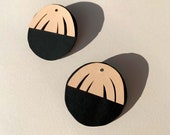 ORA - handmade statement earrings with gold plated posts - Black and Nude leather