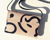 """Handmade leather clutch bag SASHA """"Shapes"""" - Natural & Black - Can be personalised"""