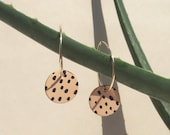 Handmade and hand-painted leather earrings with gold filled / sterling silver hoops - Back dye design