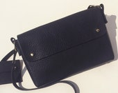Handmade leather cross-body bag - MARA Black Grained leather - Can be personalised