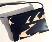 """Handmade leather clutch bag SASHA """"Ink Brushed"""" - Natural & Black - Can be personalised"""