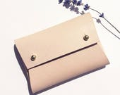 Personalised handmade mini leather pouch / business card holder - MILA Natural