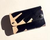 Handmade leather wallet - SASKIA Ink Brushed - Natural & Black