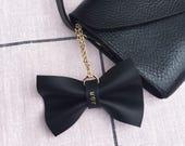 Personalised handmade leather bow bag charm - Black