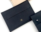 Handmade small leather wallet / card holder with coin pocket - MAYA Grained Black Leather