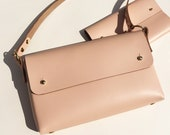Handmade leather cross-body bag - MARA Light pink / peach - Can be personalised