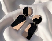 Hand-painted leather drop earrings ORANE - Black and Nude