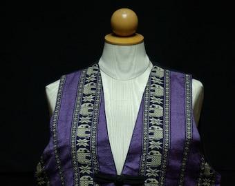 Vintage Elephant Motif Violet Vest