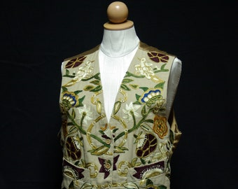Classic Crewel Embroidered Vest