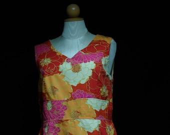Vintage Vibrant Floral Cotton Dress