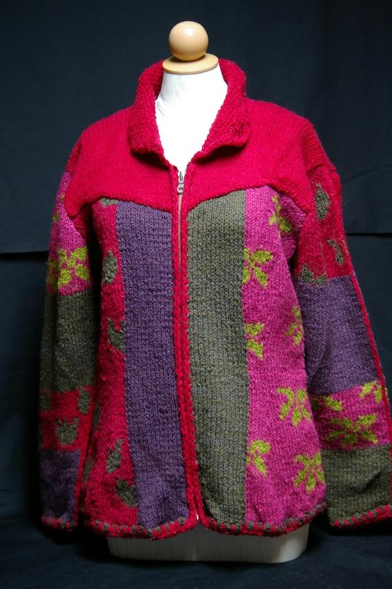 Vintage Folk Art Knitted Wool Sweater Jacket