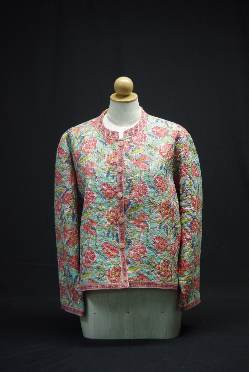 Reversible with Coral Lining Coral Aqua Quilted Jacket