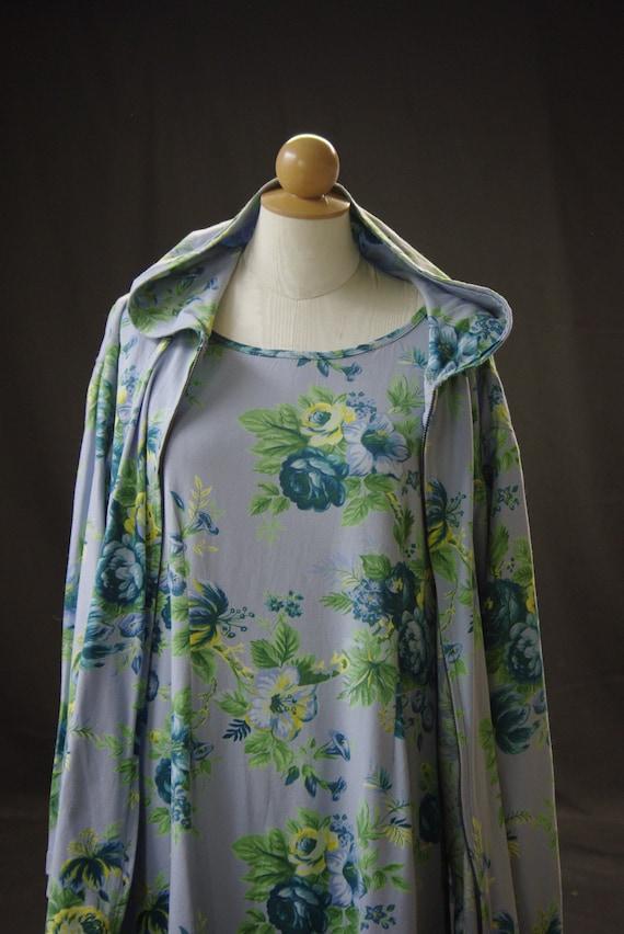 Blue Floral Cotton Knit Dress & Hoodie, April Corn