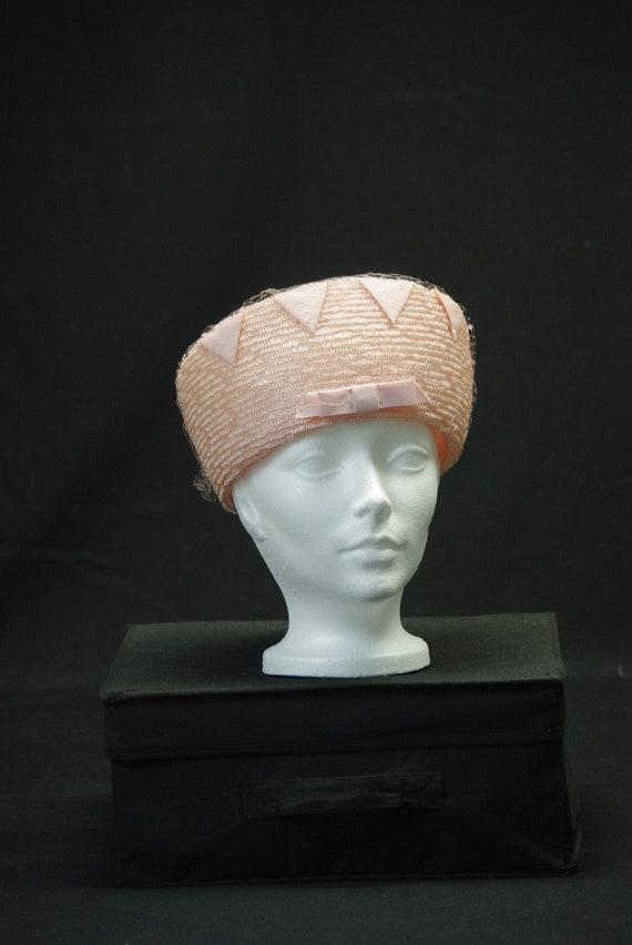 Blush Tall Pill Box Hat, Cossack Vintage Hat