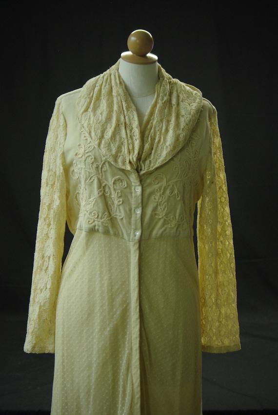 Ecru Lace & Velvet Coat Dress,
