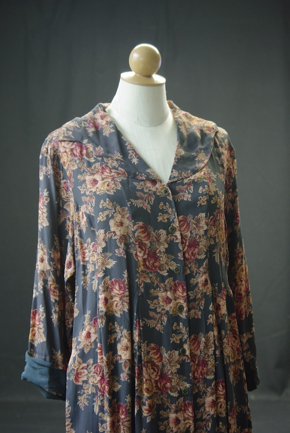 Charcoal & Rust Floral 40's Style Dress