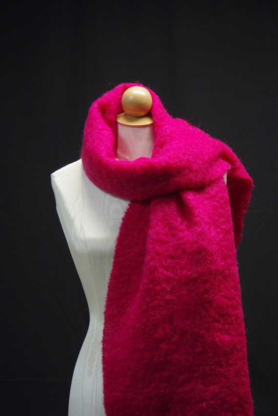 Raspberry Mohair Wool Scarf, Made in Scotland