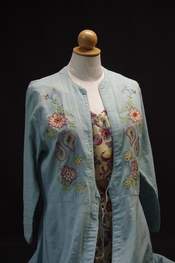 Aqua Floral Embroidered Coat Dress, April Cornell