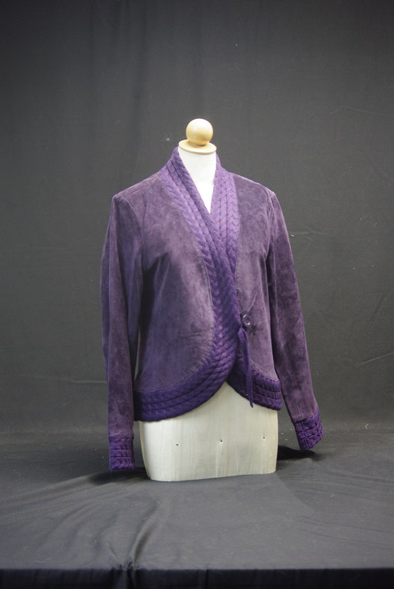 Purple Suede Jacket with Knit Details,
