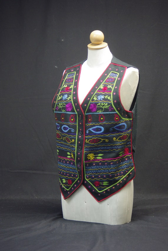 Folk Art Embroidered Vest