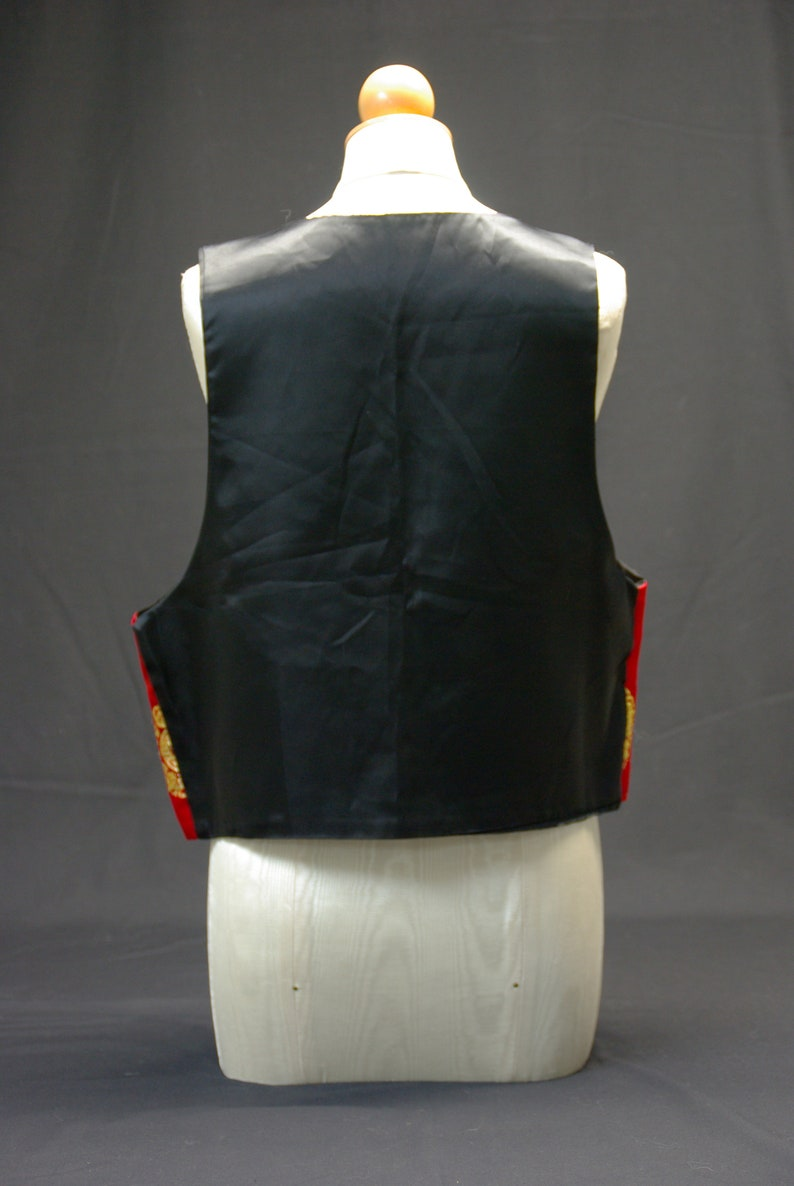 Red Satin Vest with Asian Style Design