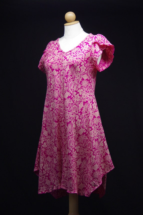 Hot Pink Folk Art Dress, William Morris Style Prin