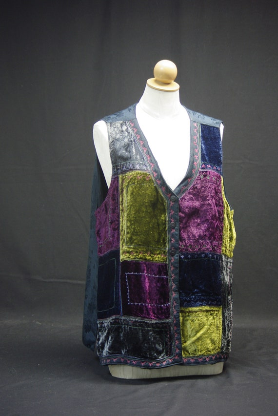 Velvet Patchwork Embroidered Vest, April Cornell
