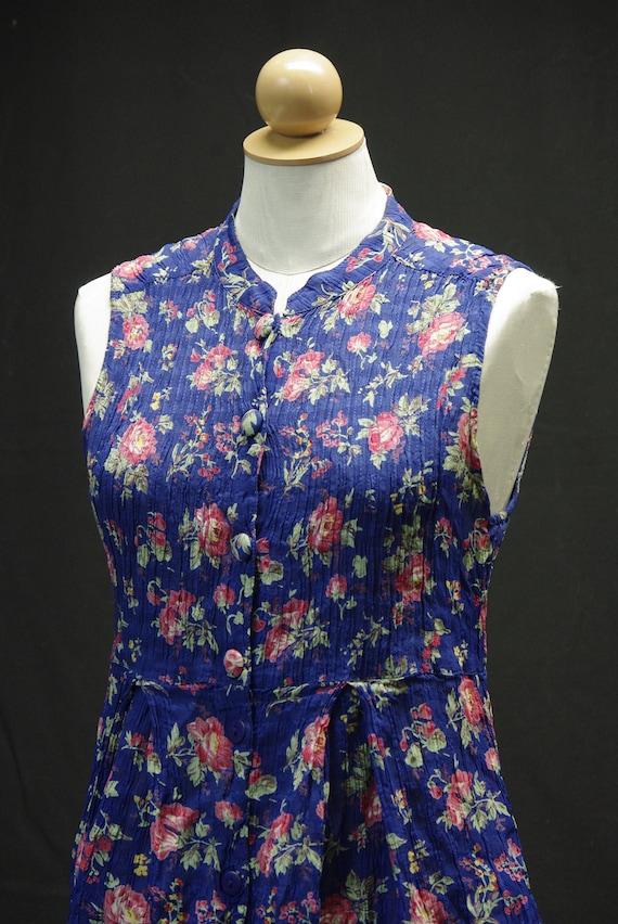 April Cornell Floral Dress, Blue & Rose Print