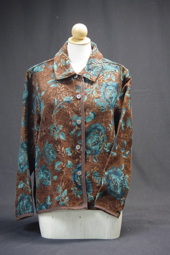 Teal Rose Chenille Jacket