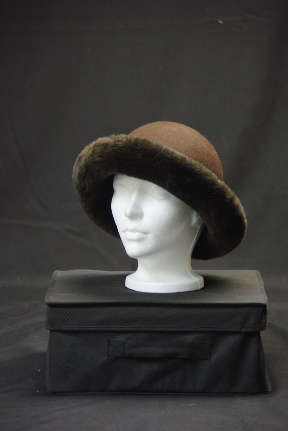 Brown Wool Faux Fur Hat, April Cornell