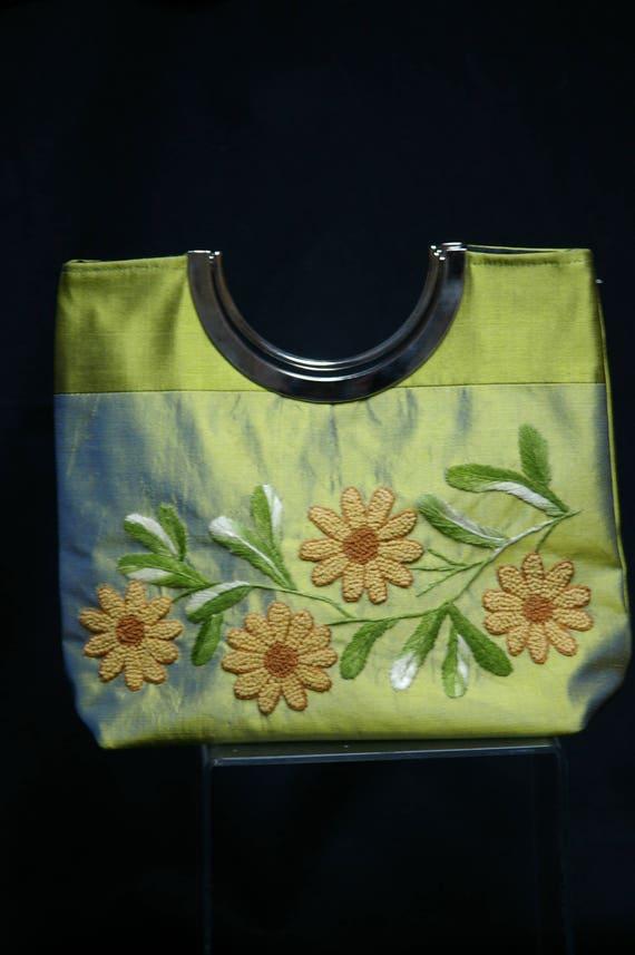 Vintage Lime Green Silk Hand Bag