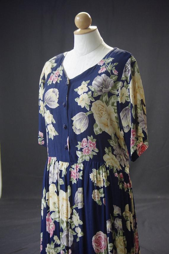 Navy English Floral Dress, April Cornell