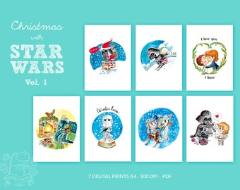 BUNDLE 1 Christmas with Star wars / Luke, Leia, Darth Vader, fanart, wall art, printable art, digital illustration, watercolor handmade