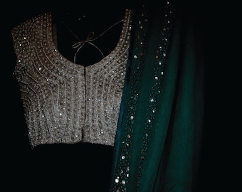 S/S-16    SILVER SIMMER sari blouse