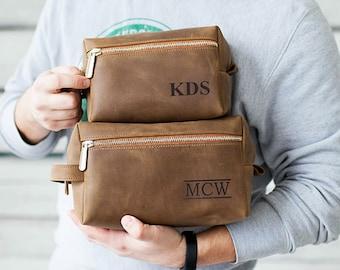 Dopp Kit Leather Toiletry Bag Mens Custom Dopp Kit Travel Bag Personalized Dopp Kit Gift for Man Leather groomsmen gifts Brown Copper