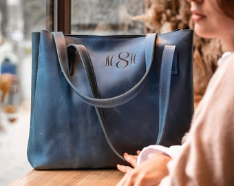 Leather Tote Bag for Women, Mom Gifts, Shoulder Bag, Mothers Day Gift, Personalized leather Bag, Gift for Mom