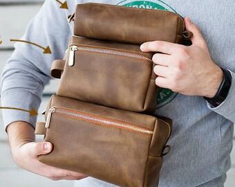 Toiletry Bag Shaving Dopp Kit Free Monogram Gift for Man Groomsmen Groom Wedding Gift Travel Bag Cosmetic Bag by Rachiba