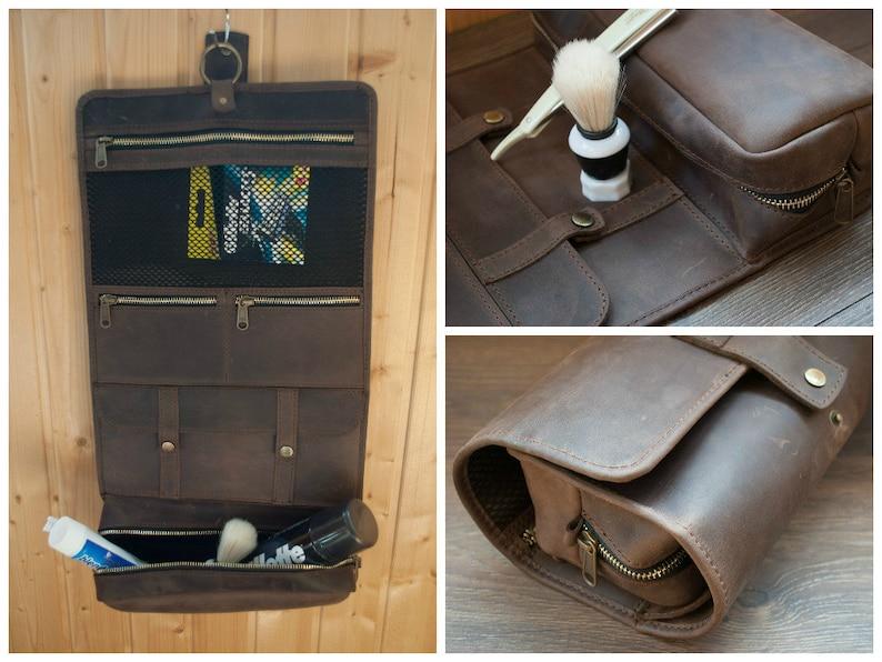 Leather Toiletry Bag Men Dopp Kit Shaving Bag Present  b95ff27302eee