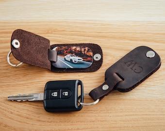 Photo keychain, Leather dad key chain, photo gift for dad, Custom photo keychain, dad gift, first Fathers day gift