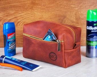 Toiletry Bag for Men, Large Travel Shaving Dopp Kit Water-resistant Bathroom Toiletries Organizer Leather Cosmetic Bags