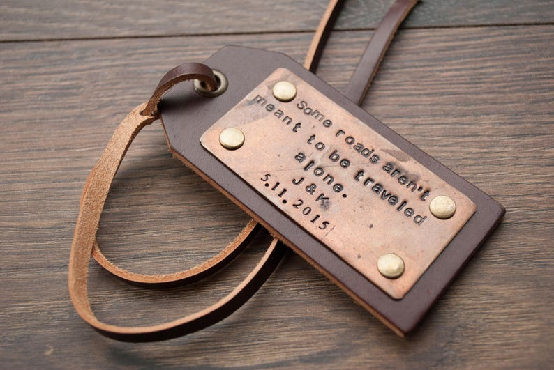 Custom luggage tag Leather luggage tags Travel tag copper leather laces